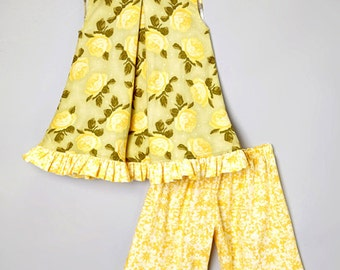 Boutique Yellow Rose Ruffle Swing Dress & Capri Pants