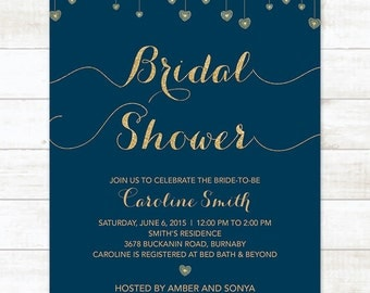 navy and gold bridal shower invitation, navy and gold glitter hearts printable modern chic shower digital invite customizable