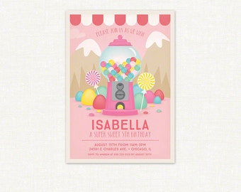 Candy Theme Birthday Invitation Set – Printable Invitation and Thank You Card by Squawk Box Studio
