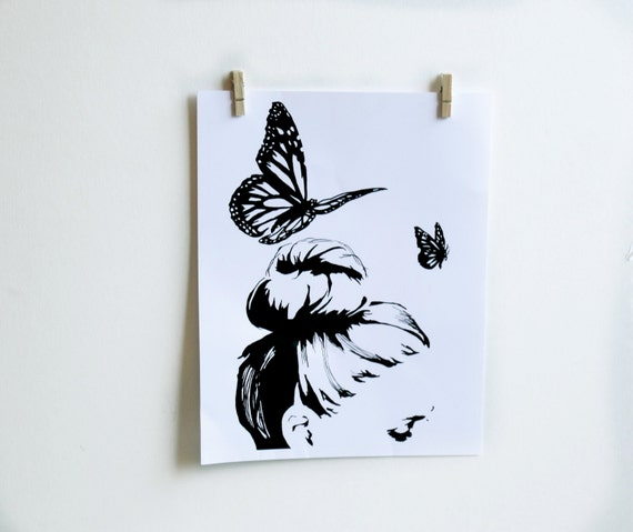 White Butterfly Wall Decor Target : Items similar to butterfly black and white wall art
