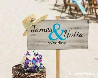Beach Wedding Decor, Name Wedding Beach Sign, Rustic wooden wedding sign