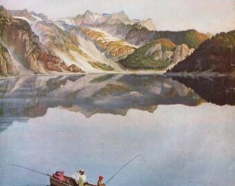 1955 John Clymer Landscape Art for Saturday Evening Post Magazine Cover - 1950s Family Fishing on Mountain Lake
