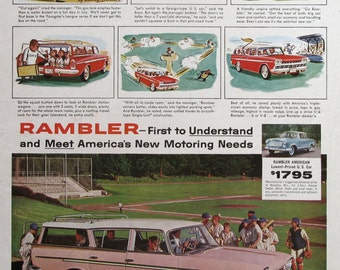 1960 Pink Nash Rambler Custom Cross Country Station Wagon Ad - 1960s Little League Baseball Team - Small Fry Manager - Whitney Darrow Art