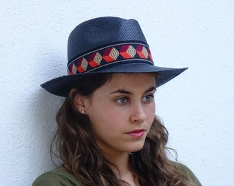 Panama hat , Straw hat , Unisex , Black hat decorated with a vintage jacquard woven ribbon.