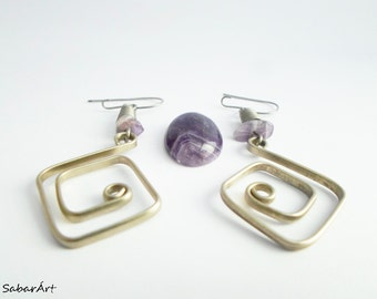 Square earrings, mathematical designs, maths designs, labyrinth, maze, february birthstone