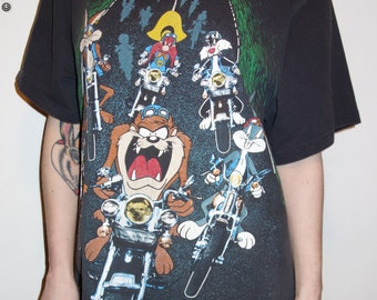 90s Looney Tunes as bikers shirt // 1993 L-XL grunge moto biker outlaw kitsch graphic novelty tee 1990s soft cotton Looney Toons