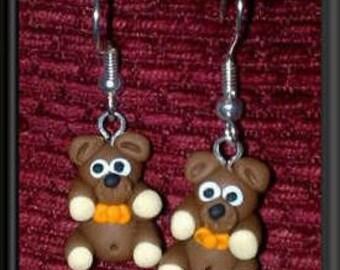 Teddy Bear Earrings Handmade by The Oswestry Bead Workshop