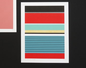 Handmade 5 Color Screenprint Pink Floater Stripes, limited edition