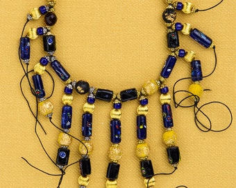 LEATHER AND GLASS necklace: