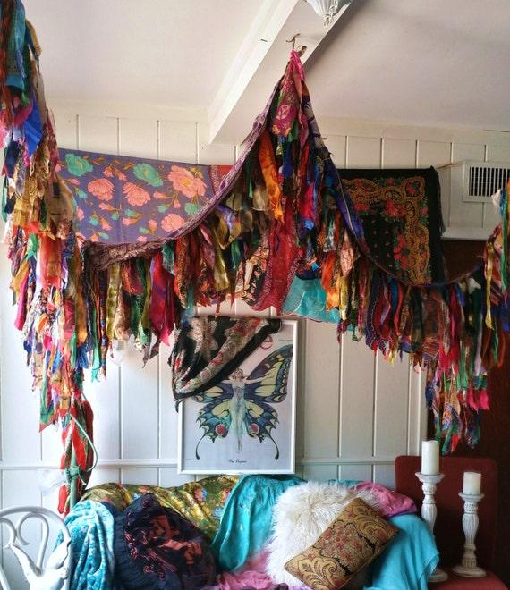 Boho Hippie Bedroom: Bohemian Bed Canopy Boho Hippy Vintage Scarves Gypsy