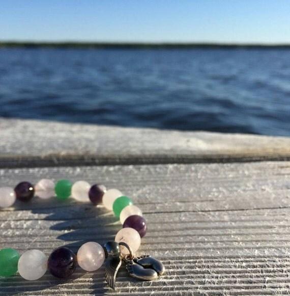 Eternal Love: Reiki Attuned Rose Quartz, Amethyst, and Green Aventurine Healing Bracelet
