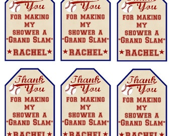 Baseball Baby Shower Thank You Tags