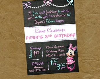 Minnie Mouse BOW-TIQUE Birthday Party Invitation