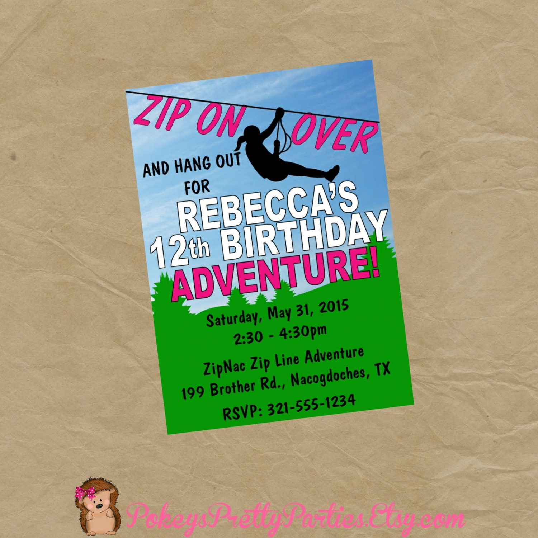 ZIPLINE Birthday Party Invitation Invite Zip Line Adventure