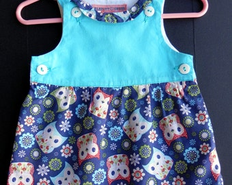 Teal and Owls Infant Top - Size 6 mos.