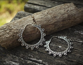 Medium Silver earrings. Hoop earrings ethnic style. Boho tribal jewelry
