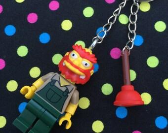 The Simpsons Groundskeeper Willie Minifigure Keyring /Keychain...Handmade using LEGO® parts