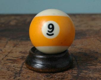 "Yellow Stripe Billiard Pool Ball No. 9 Nine Size 2.25"" Striped White Paperweight Decor Plastic Bakelite Display Man Cave Old Vintage"