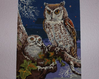 70s vintage retro wall hanging Art Tapestry on board with hand embroidered Owls. Made in Sweden Scandinavian.