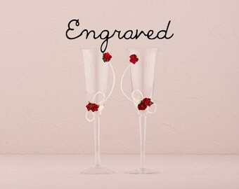 Personalized Wedding Champagne Flutes - Red Roses Wedding Toasting Flutes - Custom Wedding Glasses - Champagne Flutes - Rose Flutes - Gift