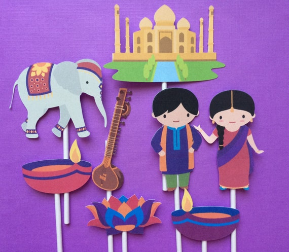 8 Indian Theme Party Cupcake Toppers Indian Party Cupcake