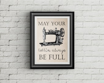Vintage Sewing Machine Art Print Sewing Quote Sewing Wall Decor Sewing Wall Art Sewing Room Decor