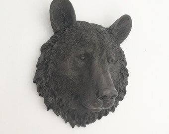 ANY COLOR Small Bear Head Wall Mount // Faux Taxidermy // Animal Nursery Decor // Grizzly // Smokey Bear // Rustic Lodge // Man Cave