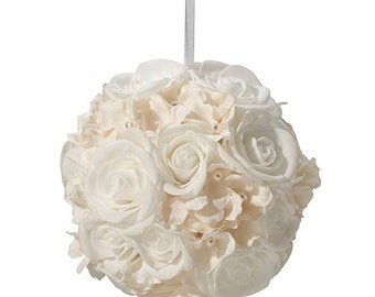 Ivory and White Flower Kissing Ball (6 Inch)