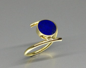 Stunning Lapis Lazuli ring with 18K gold - gift idea for holiday season