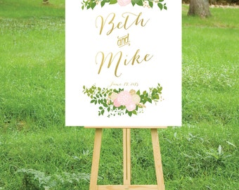 The JULIE . Welcome Wedding Ceremony Sign Printed . Heavy Paper, Foam Board or Canvas . Gold Calligraphy Blush Rose Dahlia Peonies Hydrangea