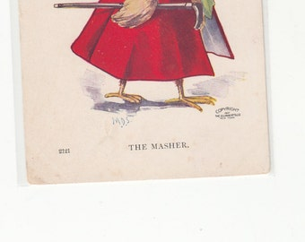 The Masher-Chickabiddies Series-Dressed Chick-Top Hat-Monocle-Cane-Ullman Postcard C1910