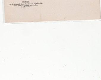Amazing 1906 San Francisco Ca Earthquake Survivor Dog Francis Postcard Attn:Animal Rescues