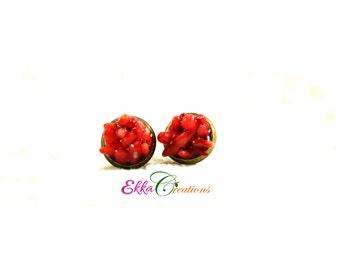 Coral Stud earrings/Red Coral Stud Earrings/Boho Earrings/Red earrings/resin earrings/10 mm stud