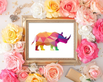75% OFF SALE - Rhino Art Print - 8x10 Geometric Art, Geometric Print, Rhinoceros, Printable Art, Animal Silhouette, Home Decor