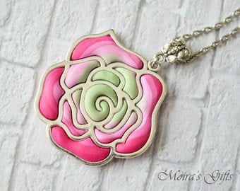 Spring rose necklace - Polymer clay jewelry - Spring trends - Romantic pendant - Pink & mint rose - Gift ideas - For her