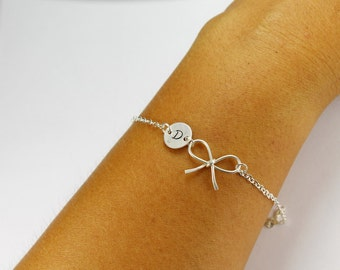 Personalized bow bracelet,Sterling Silver Bow Monogram initial knot bracelet,Bridesmaid gifts, bridal party jewelry gifts,,graduation gift