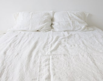 Linen Duvet and Pillowcase, Single, Twin, Double, Queen or King in Milky White