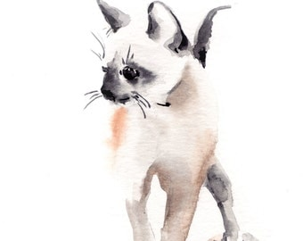 Kitten Painting, Art Print from Watercolor Painting, Cat Wall Art