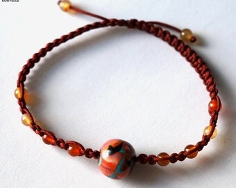 Natural Gemstone (Carnelian or Turquoise) Macrame Bracelet with Handmade Polymer Clay Central Bead
