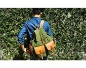 Men's Backpack / Canvas and Leather Backpack / Men's Bag / Hipster Backpack / Men's Rucksack / Overnight Bag /Summer Bag / For Him /Handmade