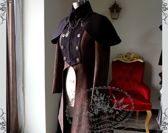 Exclusive Designer Fashion, Neo-ludwig Beyond the End of Time, Steampunk Dandy Double-Breasted Suedette Jacket & Detachable Cape