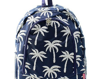 Palm Tree Print Monogrammed School Backpack Navy Blue and White