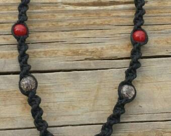 Red Shatter Strange Music Hemp Necklace