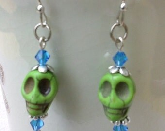 Skull & Crystal Dangle Earrings