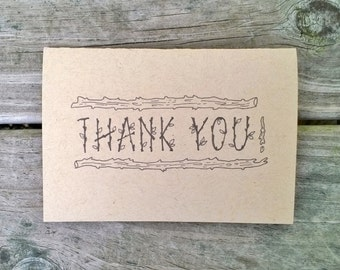 Rustic Thank You Card Set, Thank You Note, Wedding Thank You Card, Thank You Cards Set