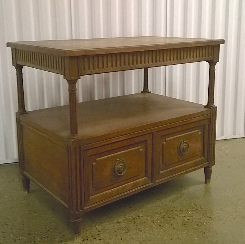vintage baker furniture side table mini console television stand