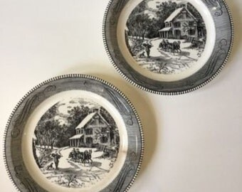 Royal China Jeannette Currier & Ives Horse Drawn Carriage Winter Scene Pie Plate