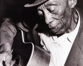 Mississippi John Hurt Poster, Playing the Guitar, Blues Music Legend