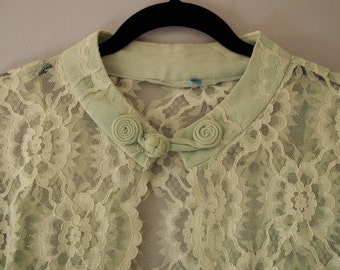 Lace Wedding Jacket - 50s Coverup Overlay Sleeves - Small Medium Large Mint Green