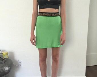VTG 90's lime ribbed mini skirt S/M